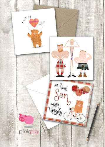 Pink Pig everyday cards and art prints