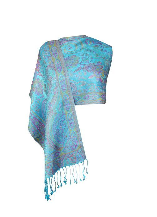 Imprinted Silk Scarf – Floral Sky Blue