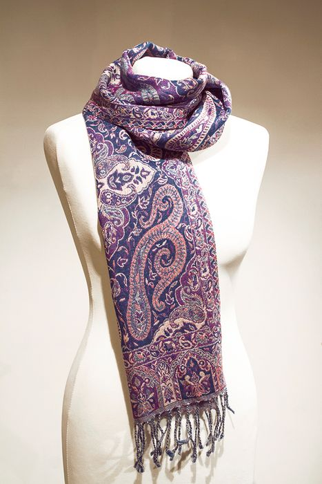 Imprinted Wool Scarf – Ethnic Blue