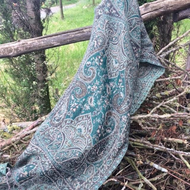 Imprinted Wool Scarf – Classical Teal
