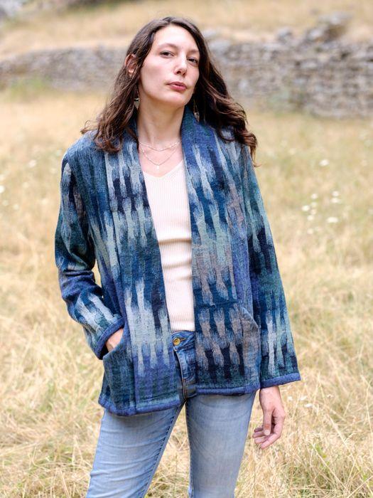 Ikat Blue Boiled Wool – Open Jacket