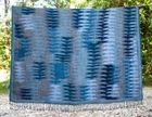 Women Ikat Blue Plaid Wool Shawl