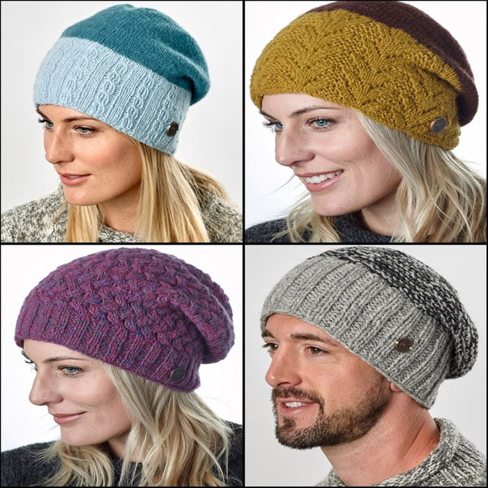 BAGGY BEANIE HATS.  Matches available with wristwarmers and mittens.