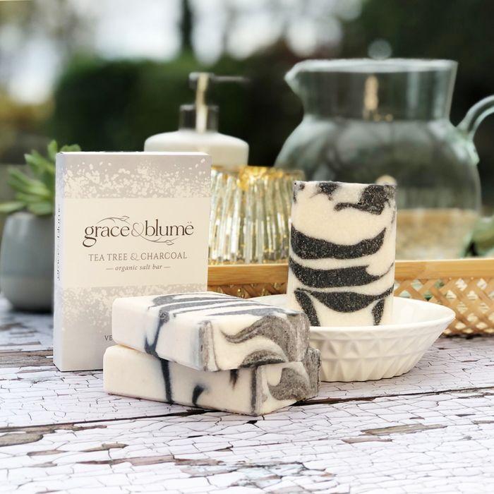 Tea Tree & Charcoal organic salt bar