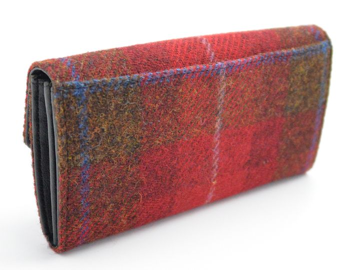 Ladies long purse made with authentic Harris Tweed fabric