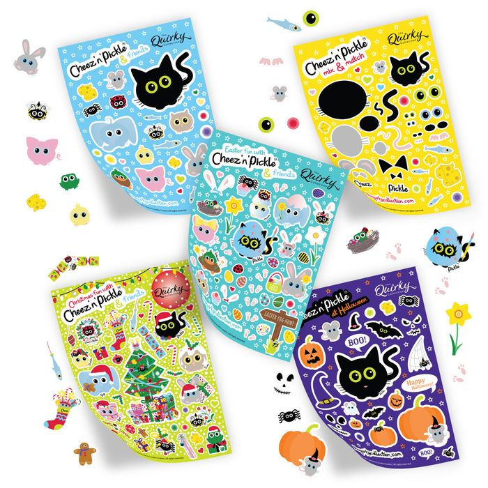 Cheez 'n' Pickle & friends A5 themed sticker sheets