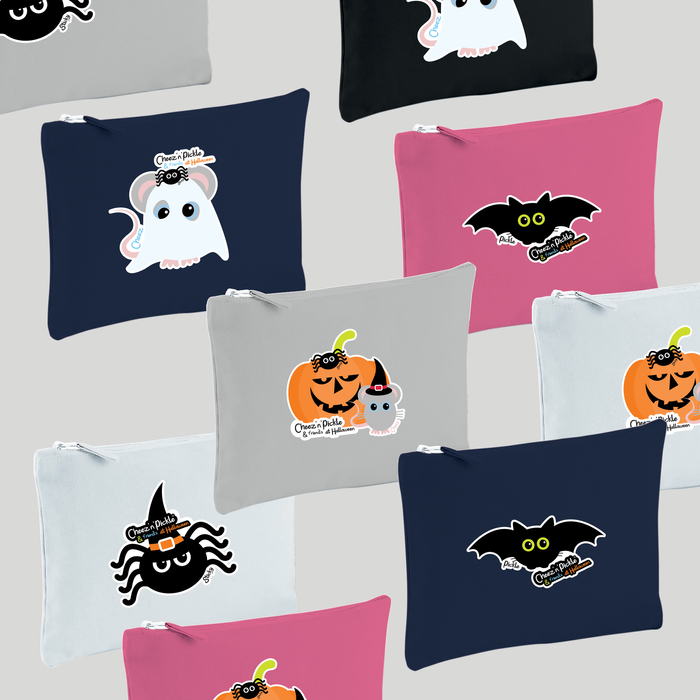 Cheez 'n' Pickle Halloween themed canvas zip bags