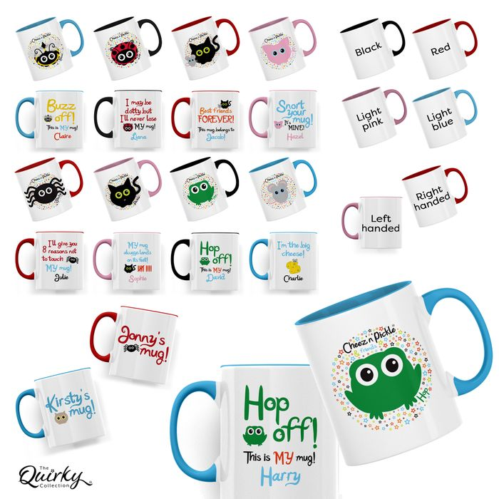 Cheez 'n' Pickle themed personalised mugs