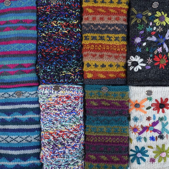WRISTWARMERS.  Single knit, double knit, textured, patterned, plain, embroidered, dotty.  Many direct hat matches.