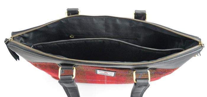 Harris Tweed ladies tote bag with laptop compartment.