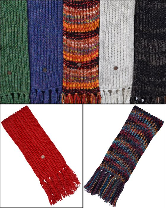 SCARVES.  Hand knit, pure wool with fringe and at least six foot long.