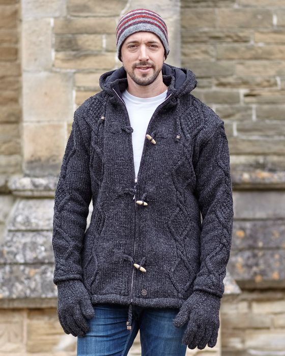 CABLE JACKETS. Beautifully hand knit, lined pure wool jackets with detachable hoods.