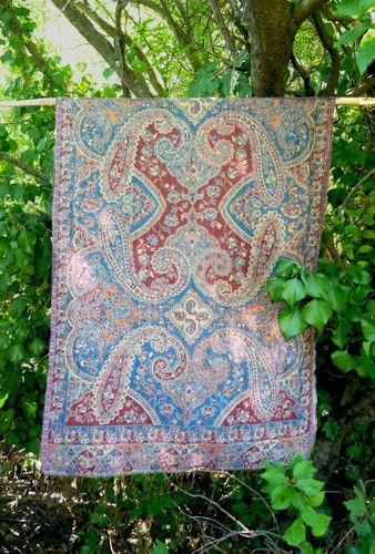 Maroon Blue Combo Wool Shawl