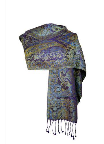 Women Silk Scarf – Paisley Purple