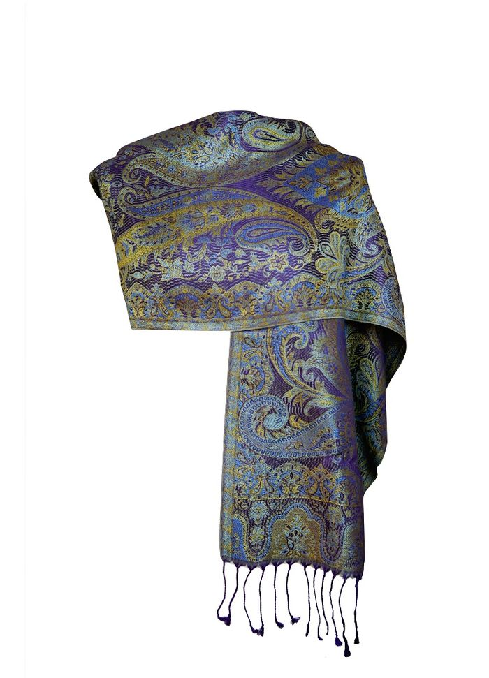 Women Silk Scarf – Paisley Purple