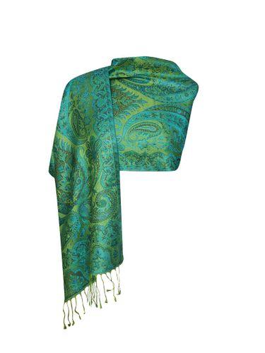 Imprinted Silk Scarf – Ethnic Sea Green