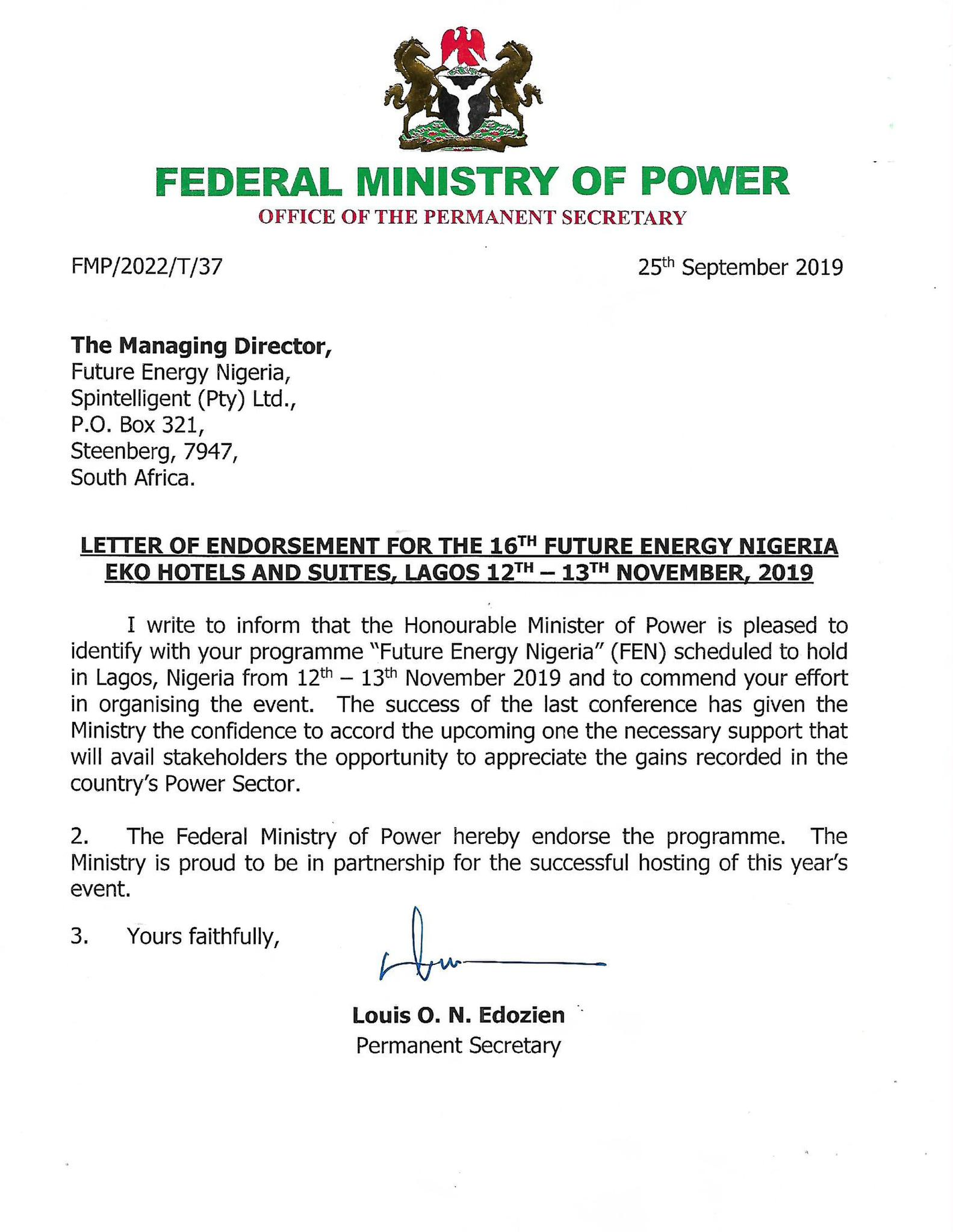 Future Energy Nigeria - Official Endorsement - Federal Ministry of Power