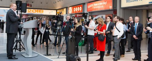 Press gather for the opening ceremony
